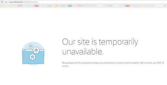 web xfinity.com is unavailable: site is temporarily unavailable.